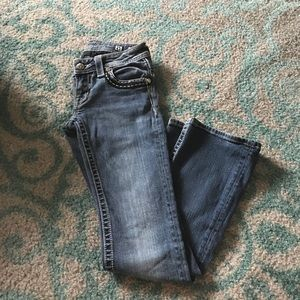 Miss Me Size 25 Bootcut Blue Jeans w Bling Pockets